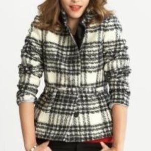 Banana Republic Plaid Belted Wool Pea Coat